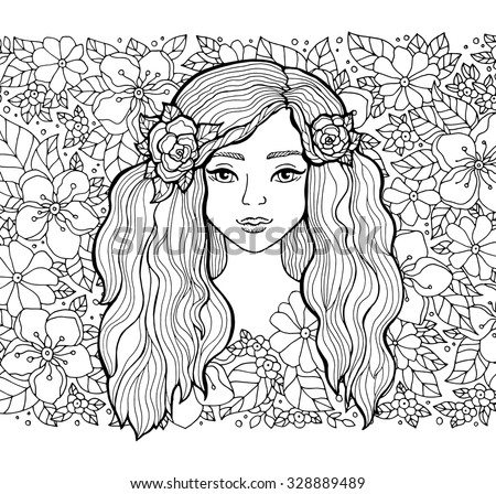 Pretty elegant girl with wreath. Vector. Hand drawn amazing floral artwork. Love bohemia concept for wedding invitation, card, ticket, branding, boutique logo, label. Coloring book page for adult
