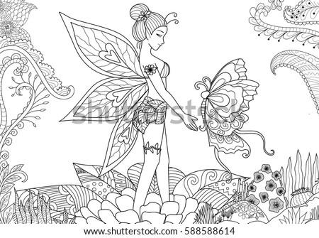 Pretty Fairy Girl Playing Big Beautiful Stock Vector