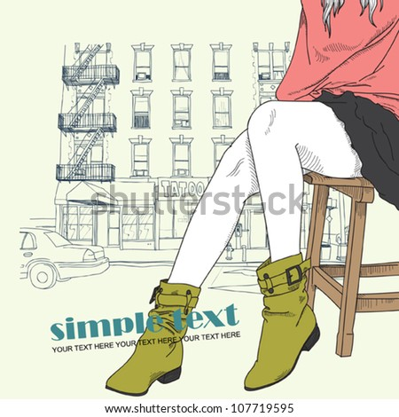 Pretty fashion girl in sketch style on a street-background. Vector illustrator. - stock vector