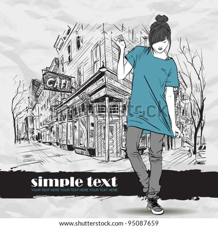Pretty fashion girl in sketch style on a street-cafe background. Vector illustrator. - stock vector