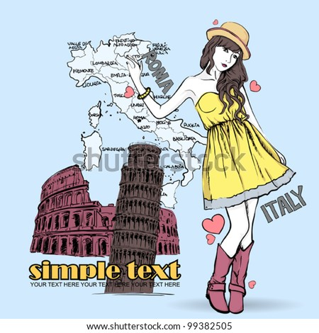 Pretty fashion girl on a italian background. Vector illustration. - stock vector