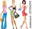 pretty fashion girls - stock vector