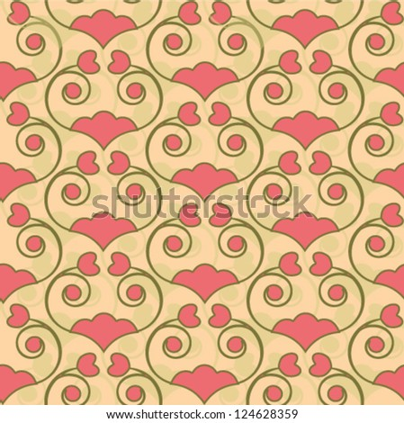 pretty floral pattern with small hearts - stock vector