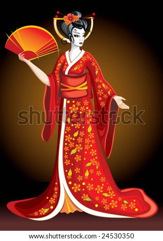 pretty geisha - stock vector