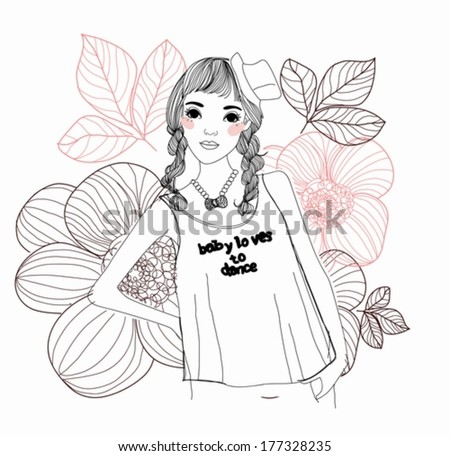Pretty girl - stock vector