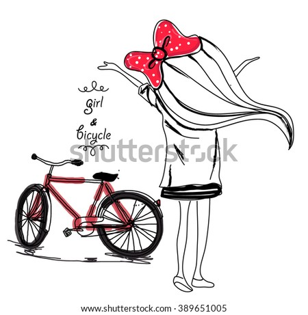 Pretty girl and bicycle - stock vector
