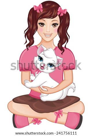 Pretty girl holding a cute white cat in her lap. - stock vector