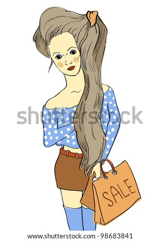 Pretty girl in blue blouse with bags