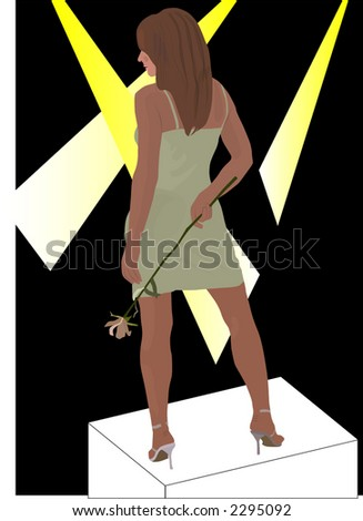 Pretty Girl in Lights - stock vector