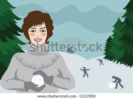 Pretty girl making a snowball, with snowball-fighting people in the background - stock vector