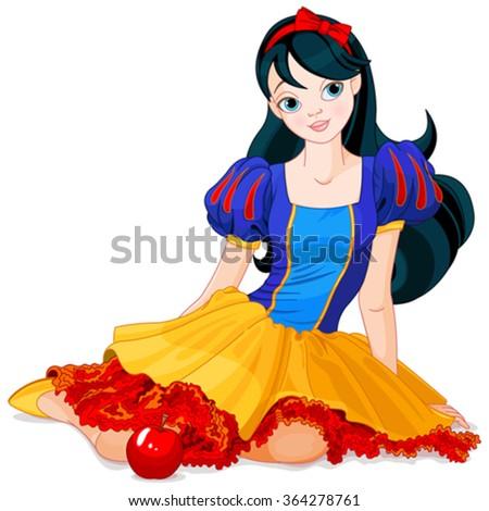 Pretty girl wearing Snow White costume  - stock vector