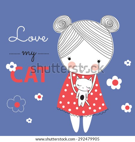 pretty girl with cat vector illustration - stock vector