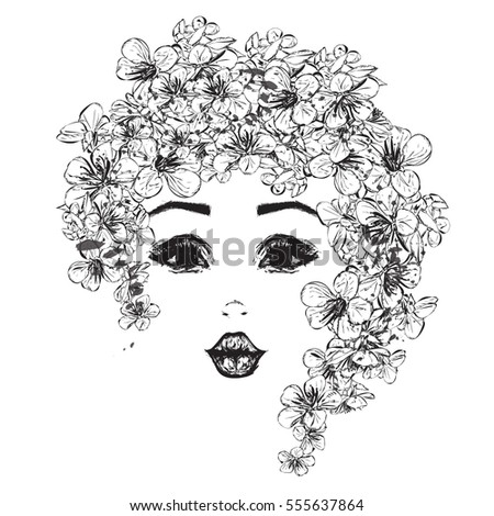 Pretty girl cherry flowers her hair stock vector 555637864 pretty girl with cherry flowers in her hair hand drawn illustration mightylinksfo Image collections