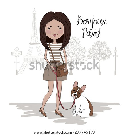 Pretty girl with french bulldog in Paris - stock vector