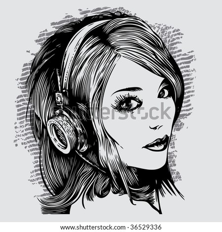 pretty girl with headphones. vector illustration - stock vector