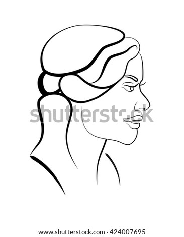 Pretty girls beautiful face in profile. Sophisticated female portrait  in trendy linear style. Beauty symbols for hair, spa salon or organic cosmetics. Thin line style. Black and white simple image. - stock vector
