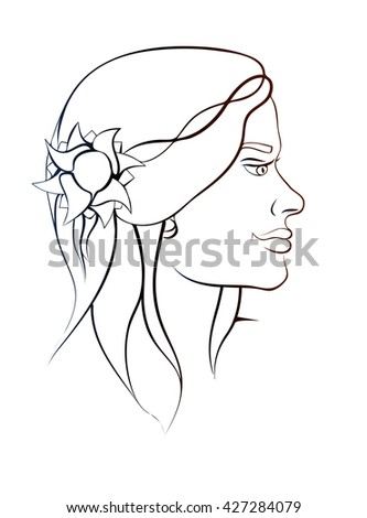 Pretty girls beautiful face in profile. Sophisticated female portrait in trendy linear style. Beauty symbols for hair, spa salon or organic cosmetics. Thin line style, simple vector image.  - stock vector