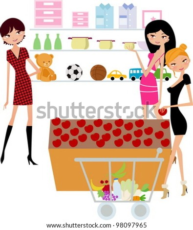 pretty girls in the supermarket - stock vector