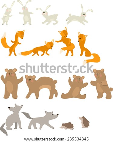 Pretty hare, fox, bear, wolf and hedgehog isolated on white background - stock vector