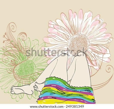 pretty legs  on a floral background. Hand drawn illustration - stock vector