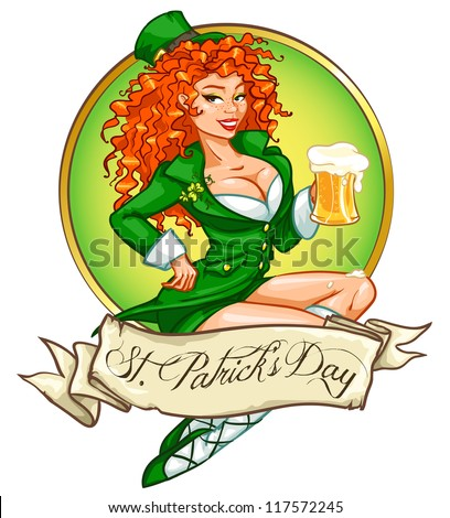 Pretty leprechaun girl with beer, St. Patrick's Day logo design with space for text, isolated - stock vector