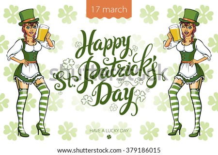 Pretty leprechaun girl with beer, St. Patrick's Day logo design with space for text, isolated art - stock vector