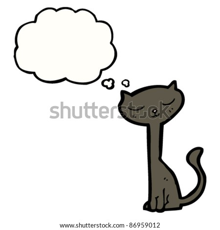 pretty, long neck, black cat cartoon