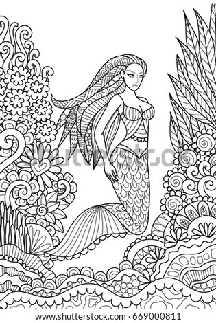 pretty mermaid swimming in the ocean for adult coloring book page vector illustration - Coloring Pages Pretty Mermaids