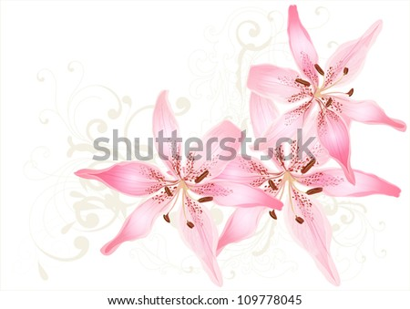 Pretty pastel vector card with lily. Floral vector