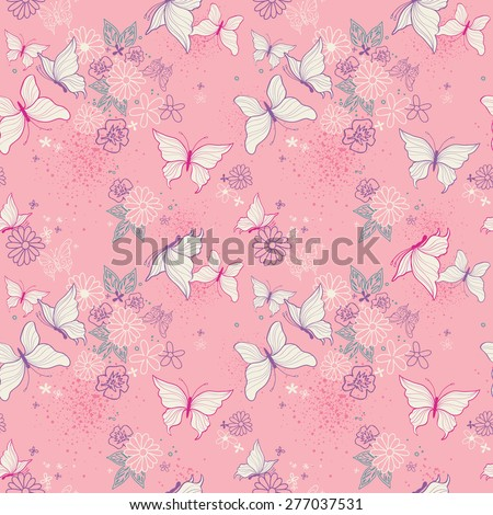 Pretty Pink Micro Boho Butterfly Floral - Seamless Wallpaper Repeat Tile - stock vector