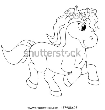 Fairy tale elements stock vector 340664459 shutterstock for Pretty pony coloring pages