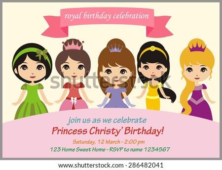 Pretty princess birthday party invitation stock vector 286482041 pretty princess birthday party invitation stopboris Image collections