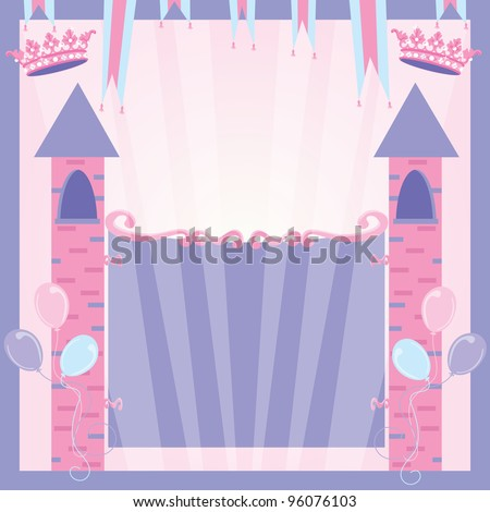 Pretty Princess party invitation with castle towers, banners, crowns and balloons welcome's you to her birthday with the castle gates that include your party info.