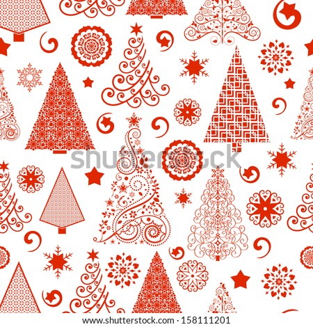 Pretty red tree Seamless Pattern - access swatch to fill in your designs  - stock vector