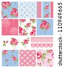 Pretty Shabby Chic Floral Vector Seamless Patterns and Icons.  Use to create digital paper for scrap booking or fabric projects. - stock vector
