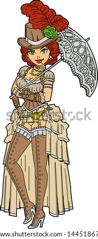 Pretty Steampunk Society Woman With Fancy Parasol - stock vector