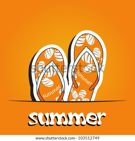 Pretty summer background with slippers, vector - stock vector