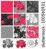 Pretty Swirl Floral Seamless Vector Patterns and Icons.  Use to create patchwork pieces for quilting or other craft projects. - stock vector