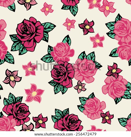 Pretty Tattoo Rock Roses Seamless Repeat Wallpaper Tile - stock vector