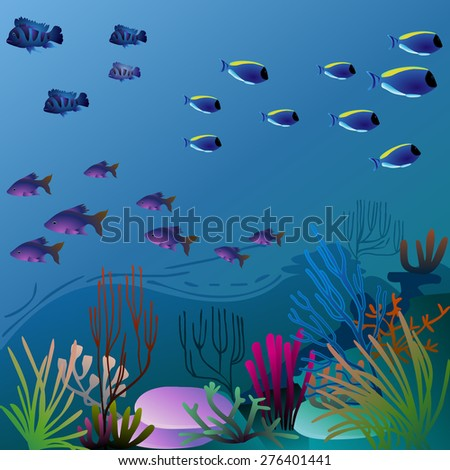 pretty underwater environment with colorful vegetation. eps10 image - stock vector