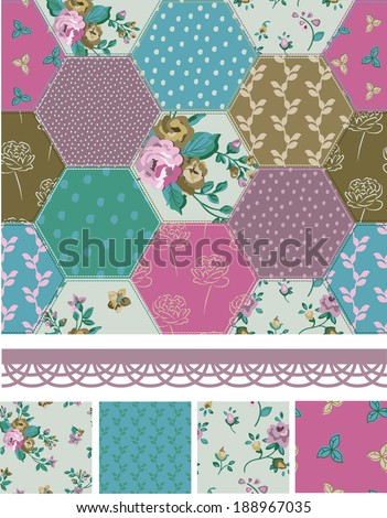 Pretty Vector Patchwork Floral Seamless Patterns and Elements. Use as fills or print off onto fabric to create unique items. - stock vector