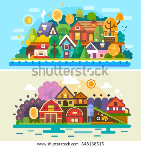 Pretty village summer and autumn landscapes: different cute and cozy houses, farm landscape, rural scenery. Flat vector illustration stock set. - stock vector