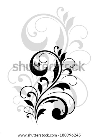Pretty vintage swirling foliate design element in a dainty black calligraphic silhouette with a repeat enlarged motif in grey behind - stock vector
