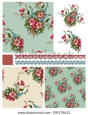Pretty Vintage Vector Floral seamless patterns and icons.  Use to create stunning craft or textile projects. Ideal as patchwork pieces for quilts or Digital paper. - stock vector