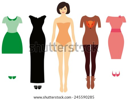 Pretty woman, Cute dress up paper doll. Body template, outfit and accessories - stock vector