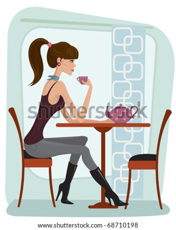 Pretty woman drinking tea in cafe - stock vector