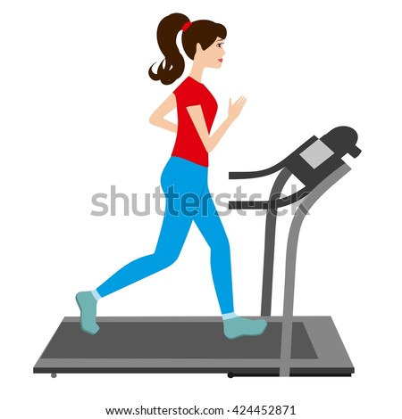 Pretty woman running on a treadmill. Young woman running vector illustration. Woman on treadmill vector. Fitness woman working out. Sporty girl on treadmill. Fitness woman vector illustration. - stock vector