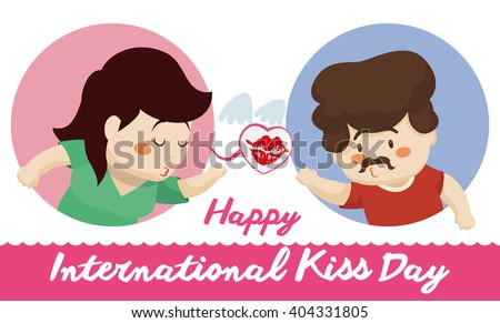 Pretty woman sending a flying kiss at her boy at distance celebrating Kiss Day. - stock vector