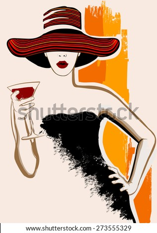 Pretty woman with large hat having cocktail - vector illustration