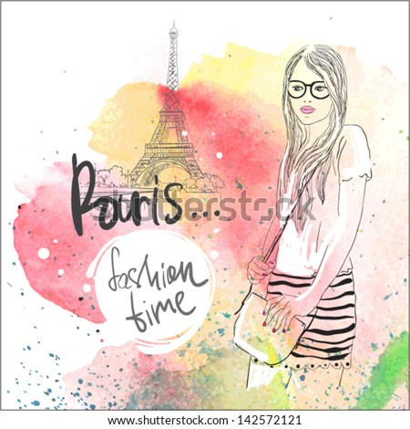 pretty young girl in Paris . vector illustration. watercolor. - stock vector